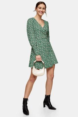 Topshop Womens Green Floral Print Wrap Mini Dress - Green