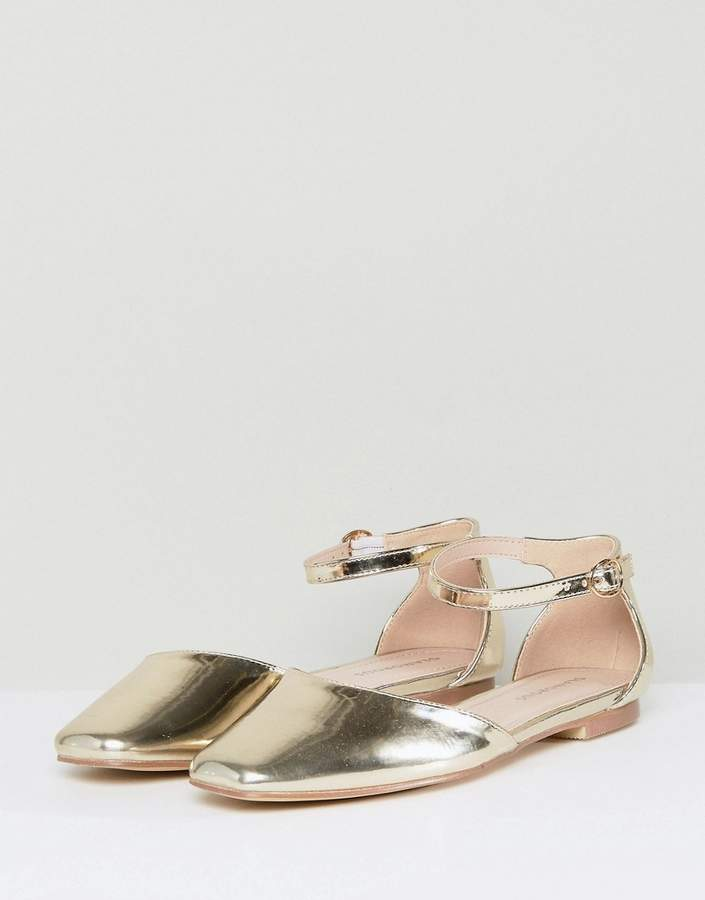 Glamorous Gold Ankle Strap Flat Shoes