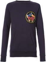 Balmain logo patch sweatshirt - men - Cotton/Brass/copper - S