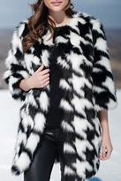 Locust Whimsy Faux Fox Houndstooth Coat