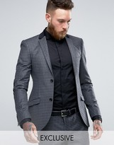 Heart & Dagger Super Skinny Blazer In Check With Lux Trim