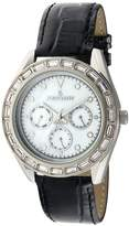 Peugeot Women's 3026 Silver-Tone Swarovski Crystal Accented Multi-Function Black Leather Strap Watch