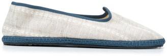 Vibi Venezia Contrast-Trimmed Linen Slippers