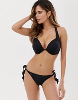 Thumbnail for your product : Pour Moi? Pour Moi Fuller Bust Space padded plunge bikini top in black