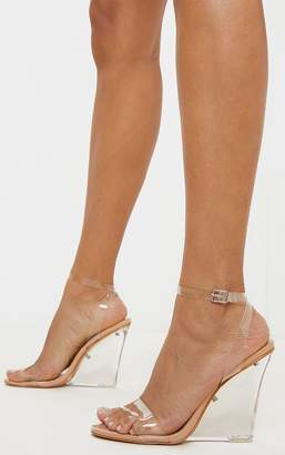 PrettyLittleThing Black Clear Wedge Strappy Sandal