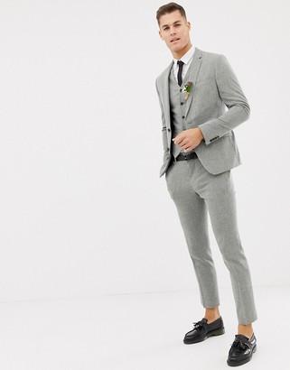 ASOS DESIGN wedding skinny suit jacket in grey cross hatch
