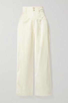 Fleur Du Mal Satin-twill Wide-leg Pants - Ecru
