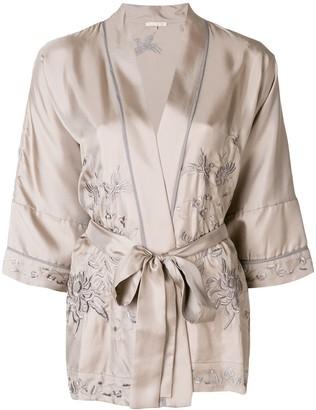 Gold Hawk embroidered kimono blouse