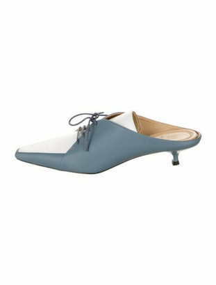 Rosie Assoulin Leather Mules Blue