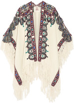 Figue Havelli Fringed Embroidered Alpaca Poncho - Ecru
