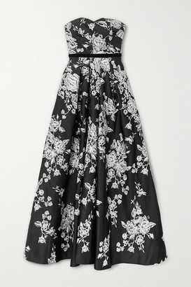 Marchesa Strapless Velvet-trimmed Embroidered Duchesse-satin Gown - Black