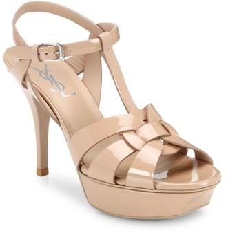 Saint Laurent Tribute 75MM Patent Leather Platform Sandals