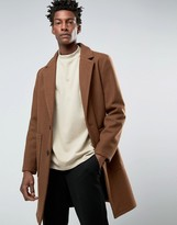 Asos Wool Mix Overcoat In Brown