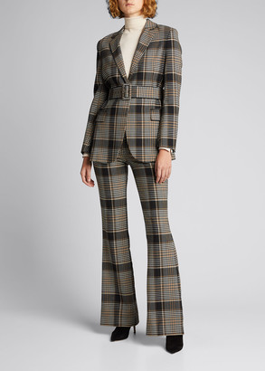 Theory Belted Plaid Blazer