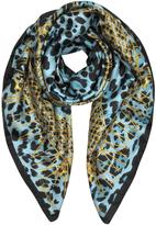 Roberto Cavalli Animal Print and Stars Pure Silk Square Scarf