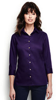 Lands' End Women's Petite 3/4 Sleeve Performance Twill Shirt-Rich Red
