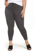 Melissa McCarthy Plus Size Women's Star Embroidered Fray Hem Pencil Jeans