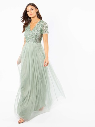 Maya Deluxe Women's Maya Green Lily V Neckline Embellished Maxi Dress Bridesmaid 6