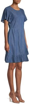 Draper James Chambray A-Line Faux Wrap Dress