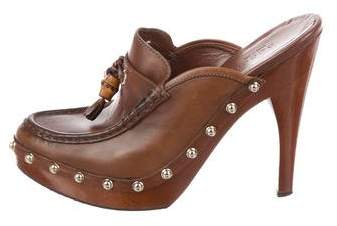 Gucci Leather Studded Mules