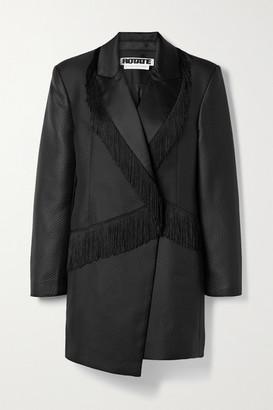Rotate by Birger Christensen Shannon Asymmetric Fringed Matelasse Satin Mini Dress - Black