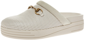 Gucci Cream Perforated Leather and Suede Mallorca Mules Size 41