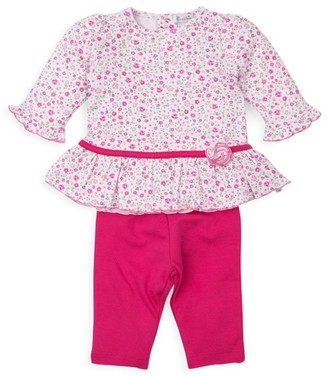 Kissy Kissy Baby Girl's 2-Piece Jacquard Print Ruffle Top & Pants Set