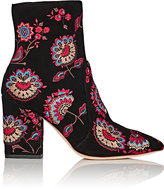 Loeffler Randall Women's Isla Embroidered Suede Ankle Boots-BLACK
