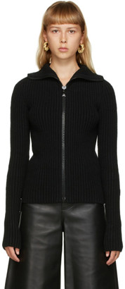 Bottega Veneta Black Knit Zip-Up Sweater