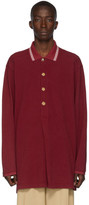 Gucci Burgundy Metallic Buttons Long Sleeve Polo