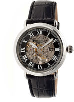 Heritor Automatic Ossibus Mens Skeleton Dial Leather-Band Silver Tone/Black Watch