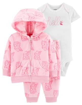 Carter's Child Of Mine By Child of Mine by Baby Girl Fleece Hooded Cardigan, Short Sleeve Bodysuit & Pants, 3pc Outfit Set