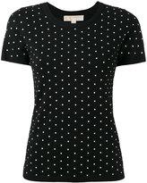 MICHAEL Michael Kors polka dot shortsleeved sweater - women - Nylon/Viscose/Aluminium - L