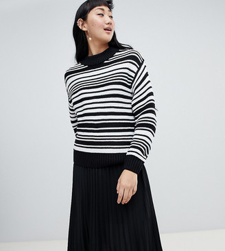Monki textured crew neck stripe jumper in black and white