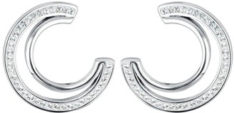Evoke Rhodium Plated Sterling Silver Clear Swarovski Crystals Double Crescent Stud Earrings