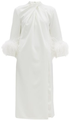 16Arlington Fujiko Feather-trimmed Twist-neck Crepe Dress - White