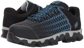 Timberland Powertrain Sport Alloy Safety Toe EH (Black/Blue Ripstop Nylon) Men's Industrial Shoes