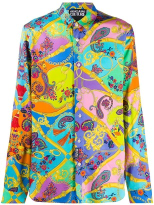 Versace Jeans Couture Mix-Print Long Sleeved Shirt