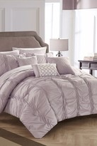 Voni Pleated & Ruffled Bed in a Bag 10-Piece Complete Comforter Set - Lavender