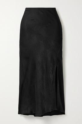 Anine Bing Dolly Satin-jacquard Midi Skirt - Black
