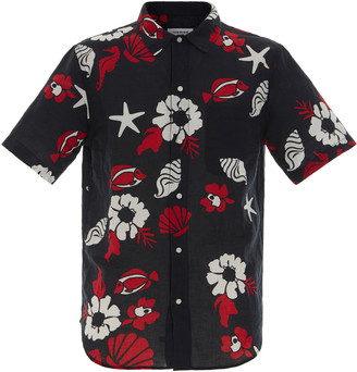 Thom Browne Printed Linen and Cotton Button Down Shirt