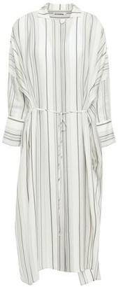 Jil Sander Tie-front Striped Twill Midi Shirt Dress