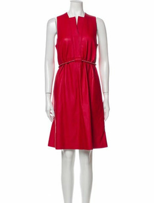 Hermes Leather Knee-Length Dress Red