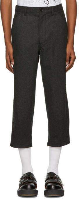 Comme des Garcons Grey Merino Wool Cropped Trousers