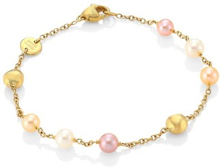Marco Bicego Africa 18K Gold & 5MM Round Freshwater Pearl Hand Engraved Single Strand Bracelet
