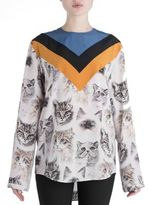Stella McCartney Varsity Stripe Cat Print Silk Blouse