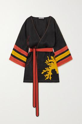 Eres + Vita Kin Antarctica Embroidered Linen Kimono - Black