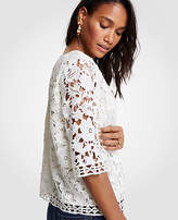 Ann Taylor Geo Floral Lace Tee