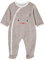 Absorba Taupe Mouse Face Velour Babygrow