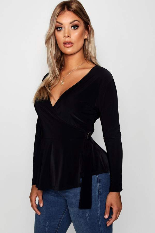 boohoo Plus O Ring Slinky Frill Wrap Top